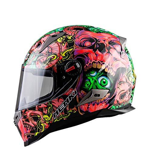 ME-Rollerns Motorradhelme mit ECE-Zertifizierung Moto-Helm Motocross-Rennhelm Motorrad-Integralhelm pink Skeleton XXL