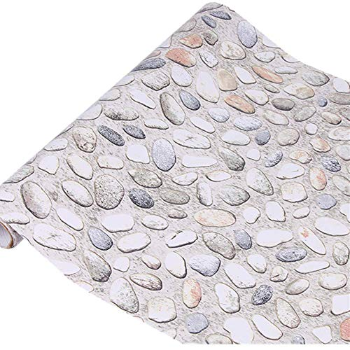 Yija White Pebbles Waterproof Wallpaper Shelf Drawer Liner Self-Adhesive Cabinet Sticker 17.7inch by 98inch