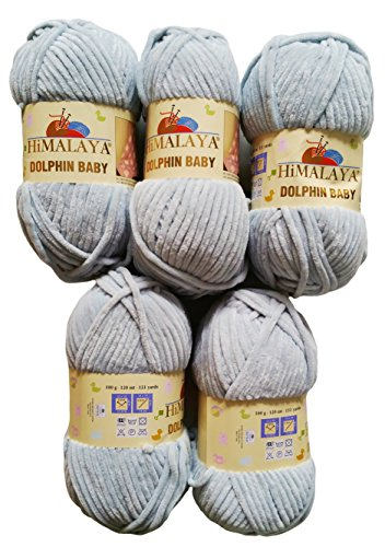 Ilkadim 5 x 100 Gramm Himalaya Dolphin Strickwolle, Babywolle, 500 Gramm Wolle Super Bulky (hellgrau 80325)