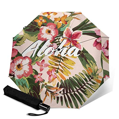 ZEH Premium Windproof Umbrella,Aloha Tropical Paradise Palm Leaves Tropical Flowers Loveys Travel Folding Automatic tri-fold Umbrella Compact Umbrella Lightweight SunRain Umbrella FACAI