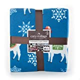Cozy Cottage Llama Fleece Throw Blanket, Oversized with Foot Pocket to Keep Your Feet Warm, Soft Lightweight Throw for Bed Couch Sofa Traveling or Camping