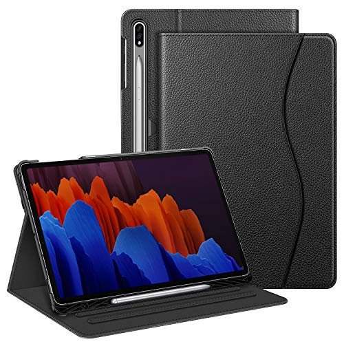 Fintie Hülle für Samsung Galaxy Tab S7 Plus/S7 FE 12.4 Zoll, Multi-Winkel Folio Schutzhülle mit S Pen Halter Dokumentschlitze & Auto Schlaf/Wach Funktion, Schwarz