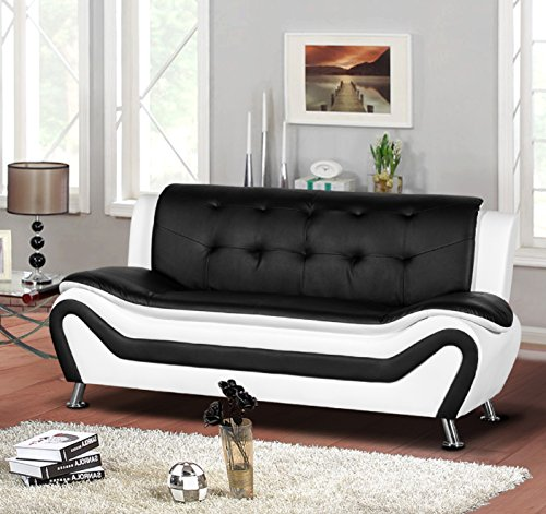 Container Furniture Direct Arul Leather Air Upholstered Mid Century Modern Sofa, 77.5', Black/White