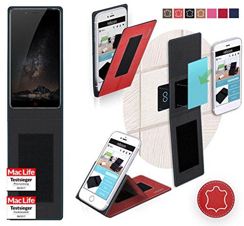 reboon Hülle für Nubia Z11 Max Tasche Cover Case Bumper | Rot Leder | Testsieger