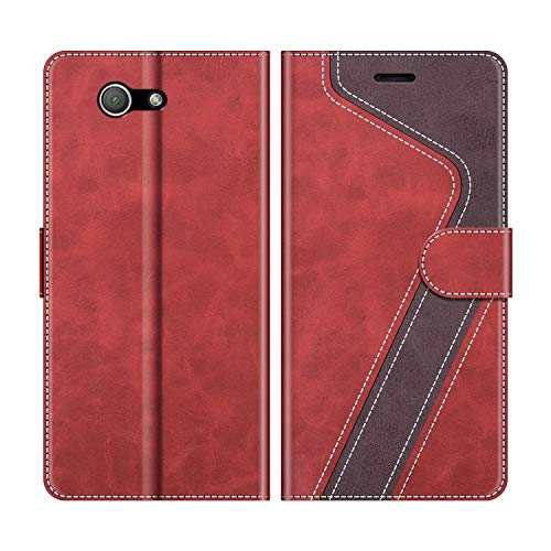 MOBESV Handyhülle für Sony Xperia Z3 Compact Hülle Leder, Sony Xperia Z3 Compact Klapphülle Handytasche Case für Sony Xperia Z3 Compact Handy Hüllen, Rot