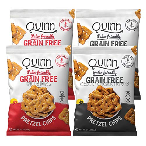 Quinn Grain Free Pretzel Chips Variety Pack, 5.5oz Bag, (4 Count)