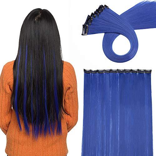 Clip in Extension Bunte Haarsträhnen Regenborgen Farbiger Haarteil wie Echthaar 1 Clip Glatt Haarverlängerung 50cm 10 Pcs 80 Gramm Dunkel Blau