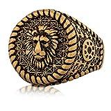Akitsune Imperator Anillo | Design-Anillo Mujeres Hombres Acero Inoxidable Grandes León Rey Sortija de Sello - Oro - US 11