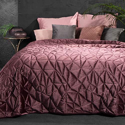 Eurofirany Bettüberwurf Velvet Samt Tagesdecke Gesteppte Geometrische Muster Decke Überwurf Steppdecke Elegant Edel Glamour Schlafzimmer Wohnzimmer Gästezimmer Lounge, Dunkelgrün, 220X240cm