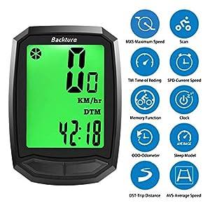 BACKTURE Cuentakilómetros para Bicicleta, Velocímetro inalámbrico para Bicicleta con Pantalla LCD de retroiluminación, Impermeable, Sueño Automático