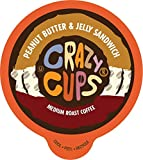 Crazy Cups Flavored Coffee for Keurig K-Cup Machines, Peanut Butter & Jelly Sandwich, Hot or Iced...