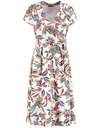 Taifun Damen Sommerkleid mit Blumen-Print tailliert Linen Gemustert XXS