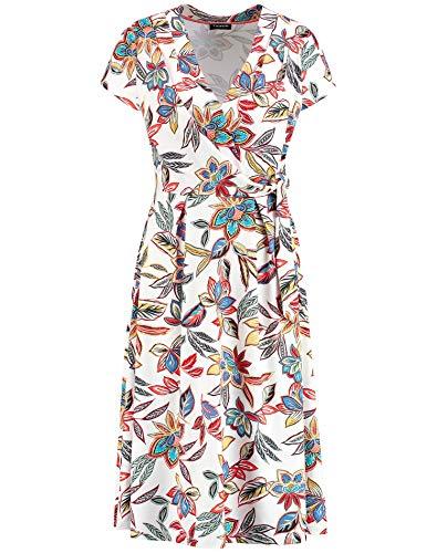 Taifun Damen Sommerkleid Mit Blumen-Print Tailliert Linen Gemustert XL