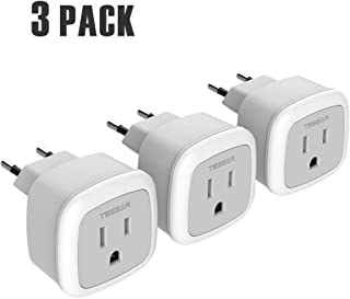 European Travel Plug Power Adapter, TESSAN International US to The Most Europe Outlet Adapter, Lightweight, Cruise Ship Approve, Wall adaptor for EU Type C Country Such as Spain,Italy,Iceland(3Pack)