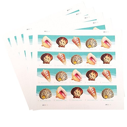 USPS Seashells Postcard Stamps (5 Sheets of 20 Stamps)