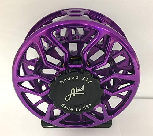 ABEL SDF 5/6 Fly Reel Purple with Black Drag Knob and Ebony Handle....