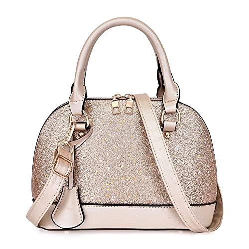 Bolsos de mujer Bolsos de mujer Bolsos de mano grandes bolsas para mujer bolso de piel sintética para viajes de compras, fecha de trabajo, regalos de cumpleaños para mamá, Gold, Talla Unica