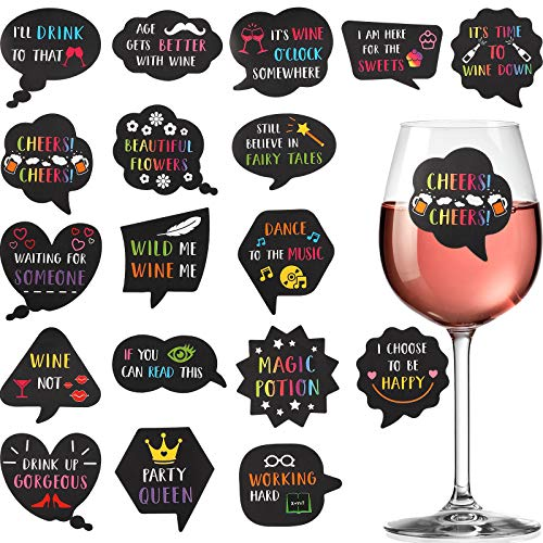 36 Pieces Wine Glass Drink Markers Funny Stickers for Wine Glasses Reusable Glass Stickers for Wine Tasting Party Wine Charms and Favors Dinner Party Wedding BBQ Pub