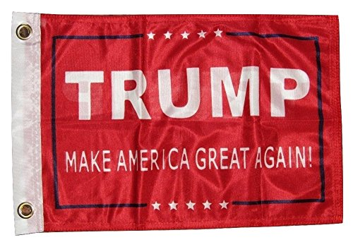 "AES 12x18 President Trump Make America Great Red 2ply Double Sided 12""x18"" Flag House Banner Brass Grommets Fade Resistant Double Stitched Premium Quality Polyester Nylon"