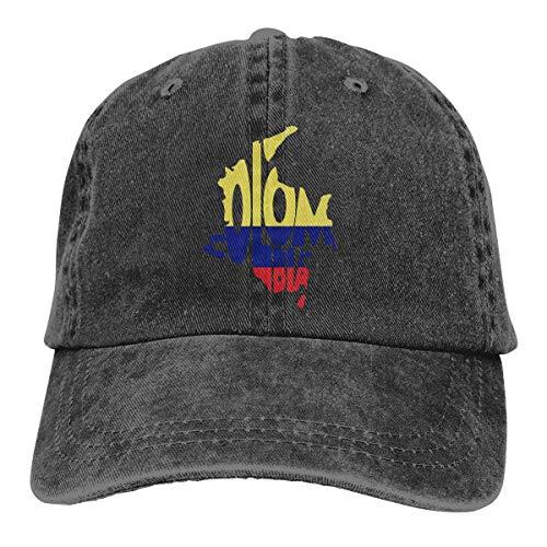 FGHGF Kaart van Colombia Mannen Vrouwen Verstelbare Baseball Caps Garen-Gekleurde Denim Dad Hat
