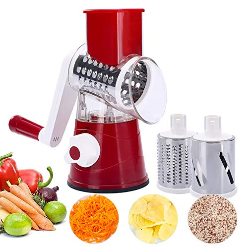 3 In 1 Vegetable Grater, Hand Held Cheese Spiralizer With 3 Stainless Steel Sharp Blade Drums For Veggie, Carrot, Cucumber, Nuts, Zucchini, Garlic,Potato,Red
