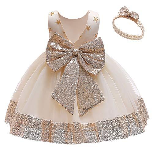 FYMNSI Vestito da bambina per festa di compleanno, per battesimo, per bambini, con fiocco, in pizzo, per principessa, matrimonio, damigella d'onore, abito da festa con fascia 2# champagne. 2-3 Anni