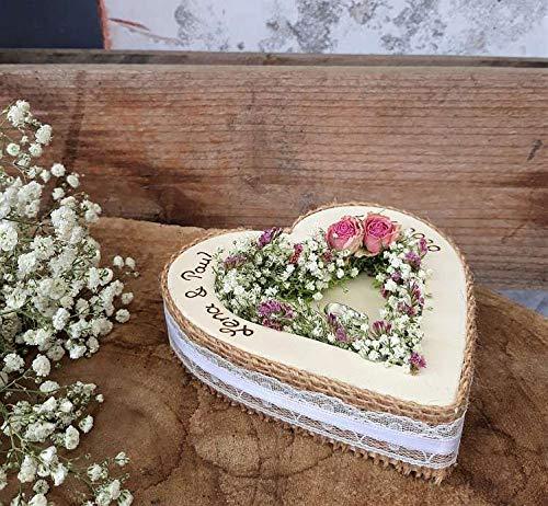 Hochzeit Ringkissen Ringhalter Herz Mille Fleurs Jute Spitze Holzherz für Eheringe mit Namen