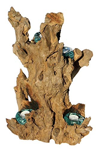 Geschenk Fantastischer 50 cm Deko Gamal Wurzelholz Vierer Teelichthalter Wurzel Holz Glas Teelicht 04