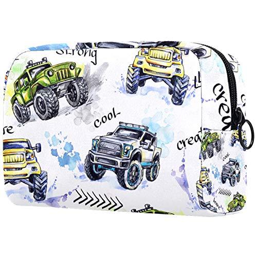 FURINKAZAN Watercolor Hand Drawn Jeep Car Travel Makeup Bag for Toiletries Bag Makeup Pouch Men & Women