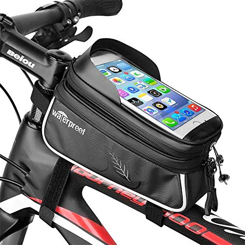 Review Of Bike Frame Bag, Cycling Pannier Top Tube Waterproof Handlebar Bags Touch Screen Bike Pouch...