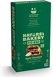 Nature's Bakery Whole Wheat Fig Bars, Apple Cinnamon (12 Bars), Packaging May Vary, Non GMO, Vegan Snacks