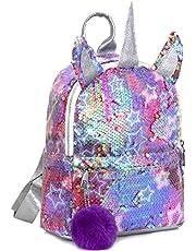 MOOKLIN ROAM Barn enhörning ryggsäck, paljettväska flickor skolväska, magisk vändbar glitter presentväska, barnryggsäck, gym dansväskor för barn tonåringar och vuxna (plyschboll: slumpmässig färg)