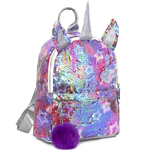 MOOKLIN ROAM Kinderrucksäcke, Einhorn Pailletten Tasche, Mädchen Schulrucksack Umhängetasche, Rucksack für Kinder Mädchen Damen - für Schule Reisen Freizeit (Plüschball: Zufällige Farbe)