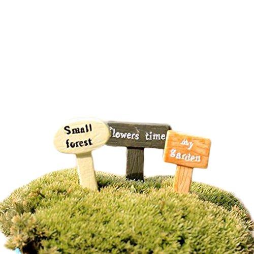 Outflower 1 panneau miniature charmant pour décoration de jardin féérique - Mini pot de fleurs - Accessoire en résine - Décoration de jardin (couleur aléatoire)