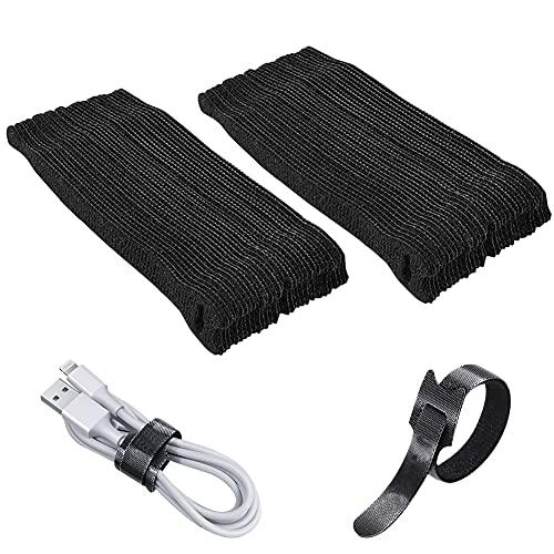 Bridas de velcro, 100 unidades, bridas autoadhesivas, color negro, reutilizables, para el hogar, la oficina, cable de datos USB, cable de auriculares