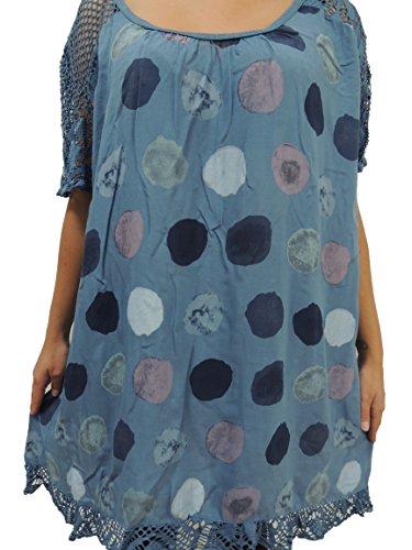 10 Farben zur Auswahl Blusen Shirts mit Punkte Muster Größe 46, 48, 50, 52, 54 (Blauton)