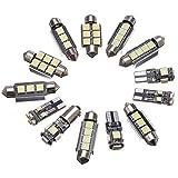 Jessicadaphne 13 unids/Set Kit de Bombillas LED para Interiores de Coche Blanco para VW Golf 6 Mk6 GTI 2010-2015 lámpara LED de Repuesto de cúpula Delantera/Trasera para Coche