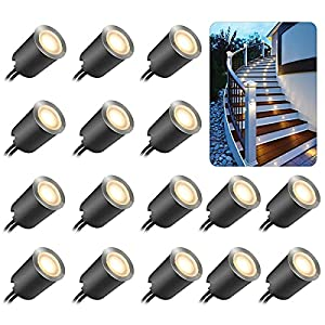 Recessed LED Deck Light Kits with Protecting Shell φ32mm,SMY In Ground Outdoor LED Landscape Lighting IP67 Waterproof,12V Low Voltage for Garden,Yard Steps,Stair,Patio,Floor,Kitchen Decoration