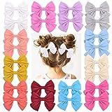 12 pares de pinzas para el cabello de 3.55'para bebés, pasadores con lazos de lino, flores para bebés, niños pequeños, adolescentes