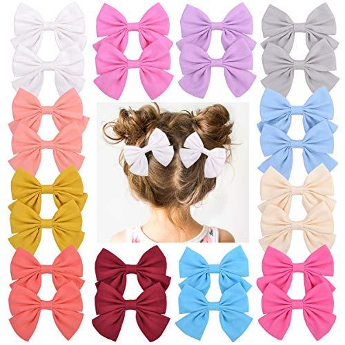 YHXX YLEN 12Paires 3,55'Barrettes à cheveux pour bébés filles Barrettes avec noeuds en lin Fleurs pour nourrissons, tout-petits, adolescents (solides)