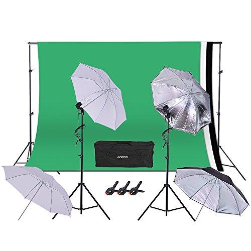 Andoer Kit paraguas de iluminación para fotografía Studio gráfica dibujo Incluye 2paraguas blancos y 2paraguas reflectantes Soporte para Fondo