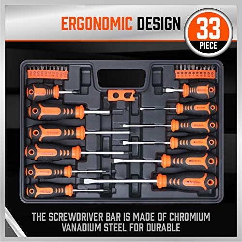 Screwdrivers Set, HORUSDY 33-Piece Magnetic Screwdrivers Set with Case, Includs Phillips, Slotted, Pozidriv, Torx