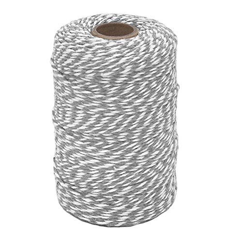 Tenn Well Grey and White Twine, 656 Feet 2mm Striped Cotton Bakers Twine for Baking, Crafting, Packing, Christmas Gift Wrapping