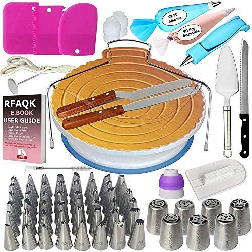 LXWLXDF-Molde para hornear, 124PCS Decoración de Pasteles Juego de equipos, conjuntos de boquillas de pastelería convertidor Crema bolsa de la placa giratoria de formación de hielo Raspador Consejos d