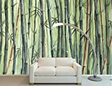 Papel Pintado 3D Murales 200x140cm Bosque De Bambú Verde Acuarela Fotomurales Decorativos Pared 3D Modernos Foto Mural Pared