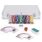 Goplus Set da Poker- 300 Chips (Cuore a Metallo) da 11,5g, 2 Mazzi di Carte, 5 Dadi, Getto...