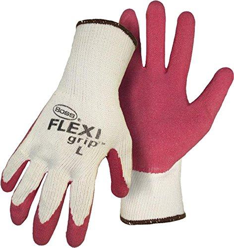 Boss Gloves 8423S Flexi Grip Latex Palm Gloves, White/Pink
