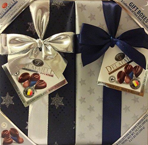 DELAFAILLE Premium Filled Quality Belgian Dark Chocolate Wrap Gift Boxes/Set- 2 Pack Assorted Kosher- Vegan