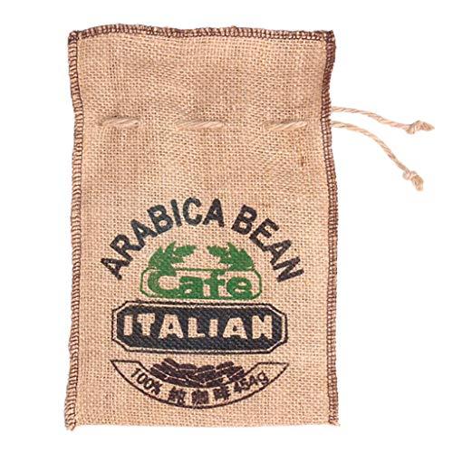 Gazechimp Jute Gewebt Bundles Kaffeebohnen Beutel Küche Kleinigkeiten Erbsen Beutel Säcke Natürliche Sackleinen Beutel Kordelzug Wiederverwendbar (12,6 X 7,5 Zo - B