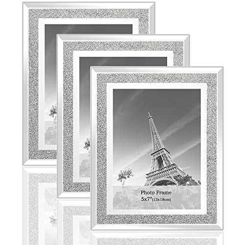 meetart Kristall glänzender silberner Spiegel Glas Fotorahmen Größe 13x18cm, Set mit 3 Fotorahmen. bilderrahmen Glitzer